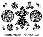 breton and celtic triskels... | Shutterstock .eps vector #708955660