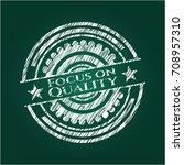 focus on quality on chalkboard | Shutterstock .eps vector #708957310