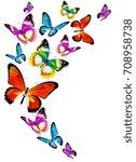 beautiful color butterflies set ... | Shutterstock .eps vector #708958738