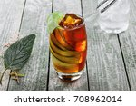 glass of alcoholic cocktail...   Shutterstock . vector #708962014