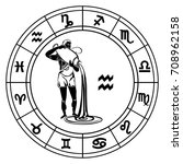 aquarius in astrological circle ... | Shutterstock .eps vector #708962158