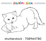 coloring book with cat and... | Shutterstock .eps vector #708964780