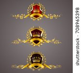 set of golden royal shields... | Shutterstock .eps vector #708965398