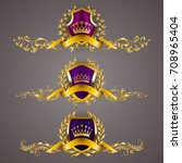 set of golden royal shields... | Shutterstock .eps vector #708965404