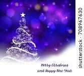 vector stylized christmas tree... | Shutterstock .eps vector #708967630