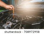closeup of hand a man check... | Shutterstock . vector #708972958