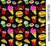 cute kids pattern for girls and ... | Shutterstock .eps vector #708973720