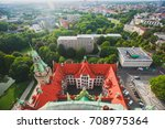 Stock photo beautiful super wide angle summer aerial view of hannover germany lower saxony seen from 708975364