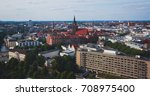 Stock photo beautiful super wide angle summer aerial view of hannover germany lower saxony seen from 708975400
