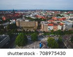Stock photo beautiful super wide angle summer aerial view of hannover germany lower saxony seen from 708975430