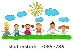 vector happy kids. | Shutterstock .eps vector #70897786