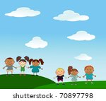 vector happy kids. | Shutterstock .eps vector #70897798