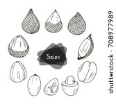 hand drawn sketch salak set on... | Shutterstock .eps vector #708977989