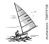 marine sport sketch. sailor... | Shutterstock .eps vector #708979738