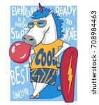 unicorn skateboarder. vector... | Shutterstock .eps vector #708984463