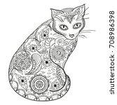 cat. design zentangle. hand...   Shutterstock . vector #708986398