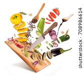 flying slices of sliced... | Shutterstock . vector #708986614