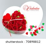 Heart Shaped Box With Red Rose...