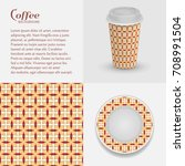 cardboard cup of coffee and...   Shutterstock .eps vector #708991504