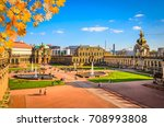 famous zwinger palace in autumn ... | Shutterstock . vector #708993808