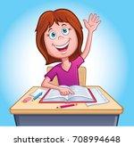 girl raising hand in class | Shutterstock .eps vector #708994648