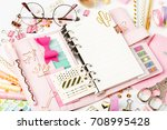 planner mockup and stationary | Shutterstock . vector #708995428