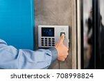 male technician test work... | Shutterstock . vector #708998824