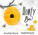 poster illustrated beehive ... | Shutterstock . vector #708999649