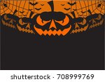 halloween party background with ... | Shutterstock .eps vector #708999769