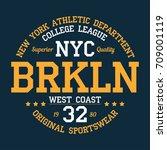 new york  brooklyn  abbreviated ... | Shutterstock .eps vector #709001119