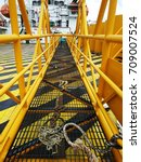 an offshore gangway on board... | Shutterstock . vector #709007524