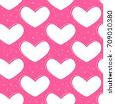 flat line heart pattern vector  | Shutterstock .eps vector #709010380