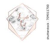 marble polygonal frame. copper... | Shutterstock .eps vector #709011700