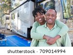 happy african american couple...   Shutterstock . vector #709014994