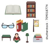 a set of icons with books. seth ... | Shutterstock .eps vector #709018774