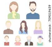 avatar set icons in cartoon...   Shutterstock .eps vector #709019659