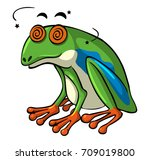 green frog with dizzy eyes... | Shutterstock .eps vector #709019800