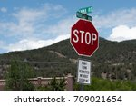 stop sign don't stop ok to... | Shutterstock . vector #709021654