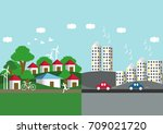 spring urban and countryside... | Shutterstock .eps vector #709021720