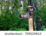 a hiking trail direction sign... | Shutterstock . vector #709029814