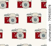 seamless pattern with vector... | Shutterstock .eps vector #709030378