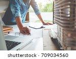 architect engineer design... | Shutterstock . vector #709034560