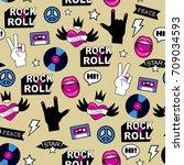 seamless rock music pattern | Shutterstock .eps vector #709034593