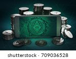 ethereum classic symbol on... | Shutterstock . vector #709036528