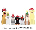 smiling dogs with christmas... | Shutterstock .eps vector #709037296