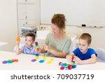 teacher woman learn two... | Shutterstock . vector #709037719