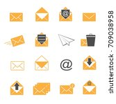 yellow color envelope and mail... | Shutterstock .eps vector #709038958