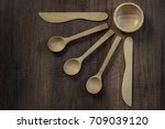 wooden bowl and spoon on wooden ... | Shutterstock . vector #709039120