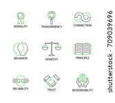 modern flat thin line icon set... | Shutterstock .eps vector #709039696