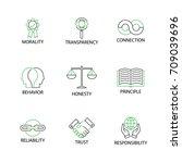modern flat thin line icon set... | Shutterstock .eps vector #709039696